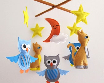 "Baby Mobile - cats and stars Crib Mobile - ""Night Cats""  - Handmade Nursery Mobile (Match your bedding)"