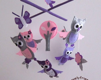 Owls Paradise Owls Mobile - Baby Mobile - Baby Girl Hanging Nursery Crib mobile - Lavender and soft pink Owls (Choose Your Felt Color)