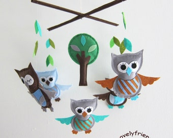 Baby Mobile - Striped owls baby boy mobile - grey owls nursery mobile - owls and leaves decorate mobile - chocolate owls baby crib mobile