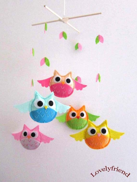 Nursery mobile felt : ... nursery mobile - hanging felt crib bright owl