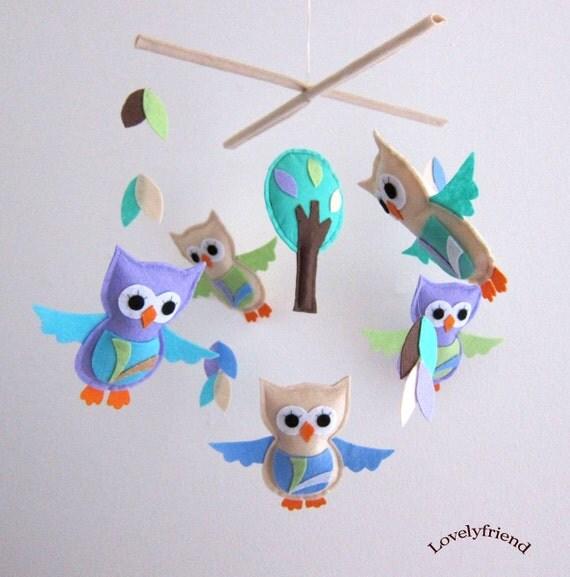 Lavender Paisley Owls Mobile - Baby Mobile - Neutral Color Crib mobile - Woodland Owls Nursery Decor (Choose Your Felt Color)