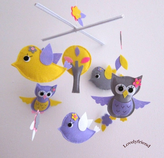 Kawaii Birds and Owls Mobile - Baby Mobile -Neutral Nursery Crib mobile - Purple and Yellow Birds (Choose Your Felt Color)