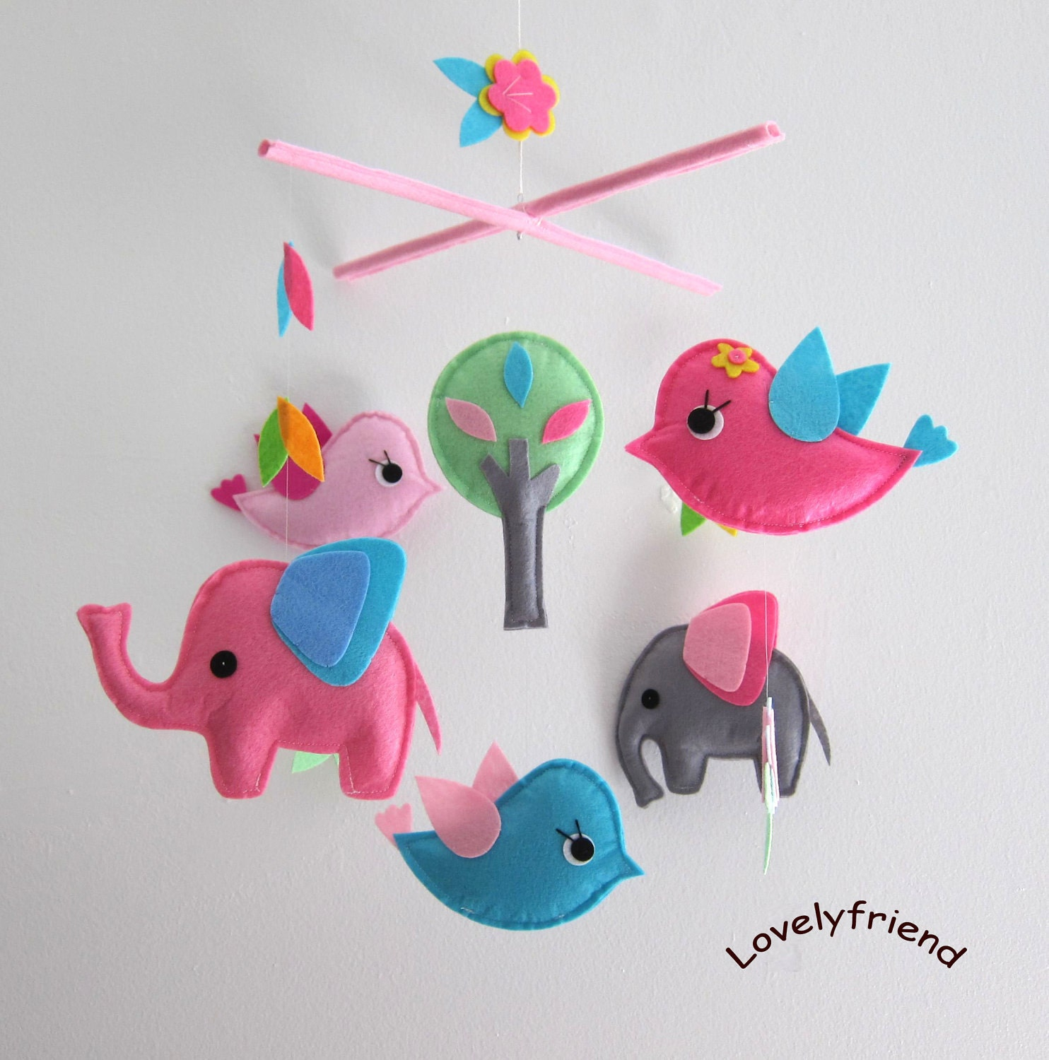 Baby Mobile Nursery Mobile Baby pink elephant by lovelyfriend
