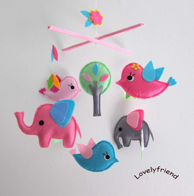 baby mobile nursery mobile baby pink elephant handmade. Black Bedroom Furniture Sets. Home Design Ideas