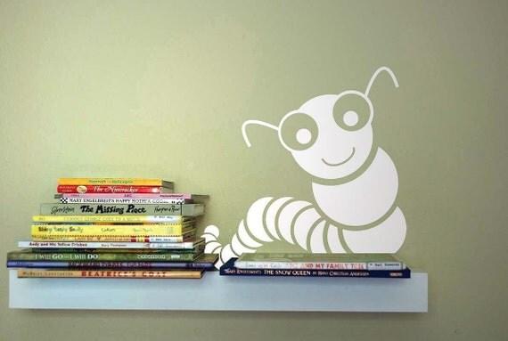 "Sale 15% off - Set of 2 Bookworms - 5"" in TRAFFIC BLUE - Vinyl Wall Art, Sticker, Decor"