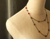 blood red crystal multi-chain necklace with magnetic clasp - VAMPIRE'S KISS
