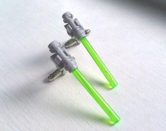 Star Wars Lightsaber Cufflinks in Green - HippopotamusPie's Original Design