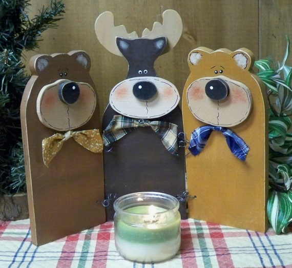 Wooden Bears and Moose Friends Standing Together, Cabin Decor