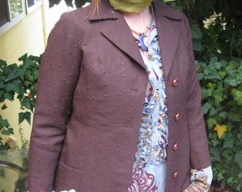 60s Brown Slightly Secretary Orbiting Dots Jacket