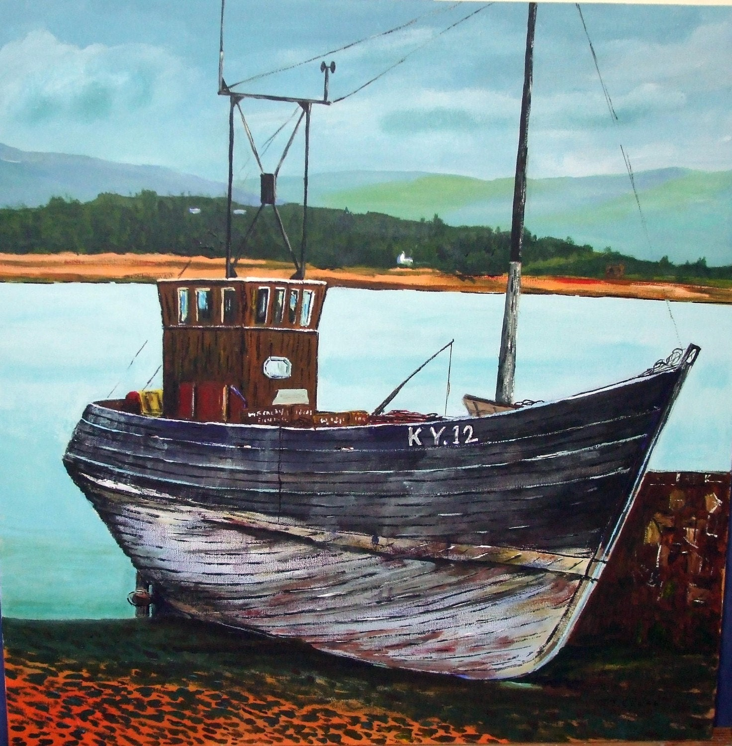 The old fishing boat an original acrylic painting on canvas for Fishing boat painting