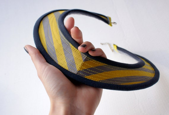 Felt and fabric necklace/collar - striped gray and yellow shiny fabric with gray-blue jersey trim SAMPLE