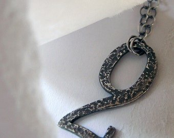 Sterling Silver Necklace French Deco House Number 2 Casted on Sterling Silver Chain Artisan