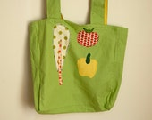 Linen Market Tote Bag Light Green with Tomato, Pepper, Chard