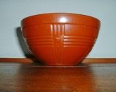 Hazel Atlas Bowl Criss Cross Bowl Fired On Rust Color Vintage 1940's Bowl
