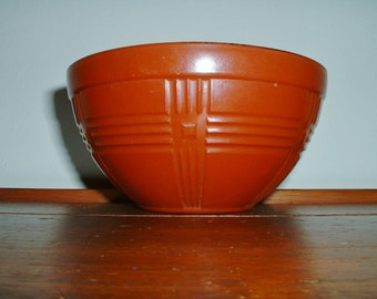 Hazel Atlas Bowl Criss Cross Bowl Fired On Rust Color Vintage 1940's Bowl