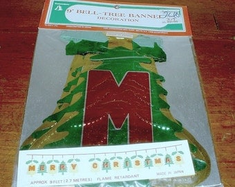 Merry Christmas Banner  Vintage Tree Bells Commodore  JAPAN Mid Century  Unopened New Old Stock
