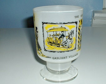 Gaslight Village Souvenir Glass Lake George, N.Y.  Catskills Gay Nineties Frosted Tumbler Vintage