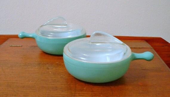 Vintage Glasbake Casserole Bowls Sundial Lids Fired On Green McKee