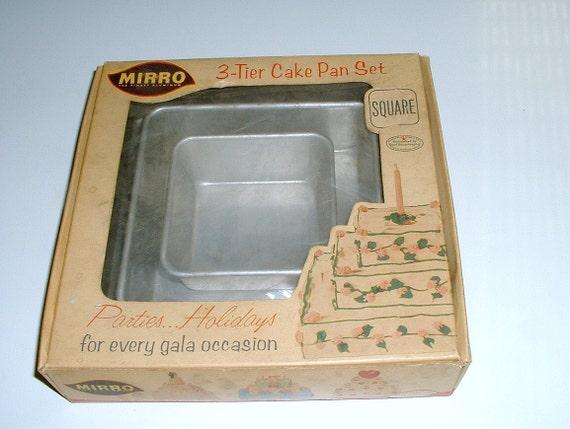 Mirro Square Graduated Cake Pans Original Box Vintage Bakeware Tiers Wedding