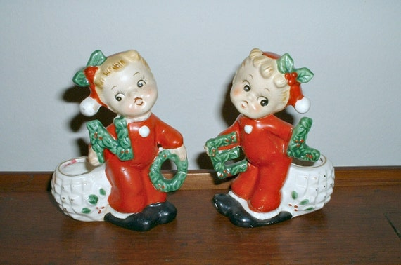 Vintage Noel Christmas Girl Figurines In Red Pajamas