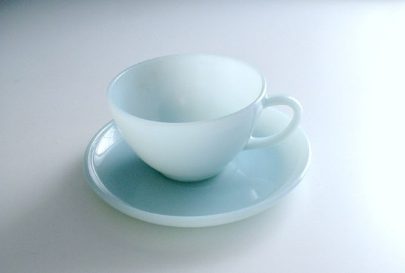 Vintage Fire King Turquoise Blue Cup and Saucer
