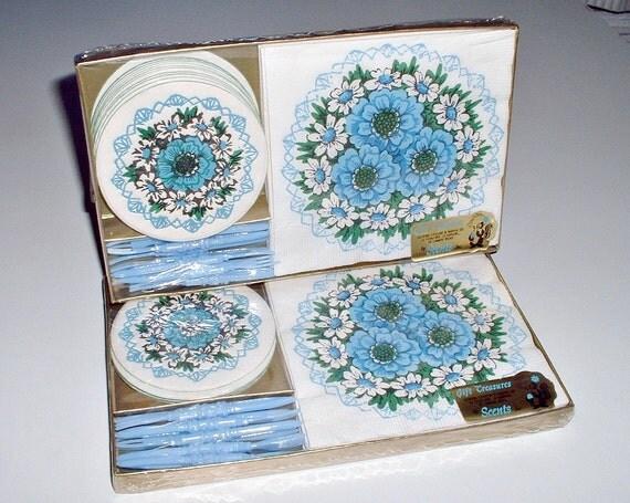 Vintage Flower Power Paper Napkins Coasters  Canape Forks Floral Cocktail Party Hostess Sets 2 Boxes