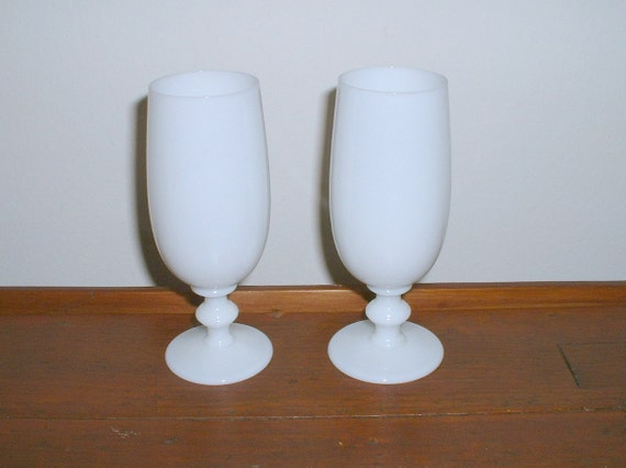 Antique Portieux Vallerysthal White Opaline Goblets Milk Glass  PV France 2 Glasses