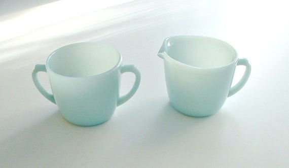 Vintage Fire King Turquoise Blue Creamer and Sugar Set