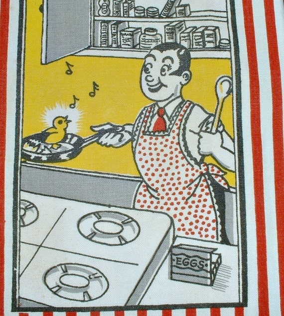 Vintage Towel Man  Cooking  with Pan Egg Chick Sings Mid Century Kitchen Tea Towel