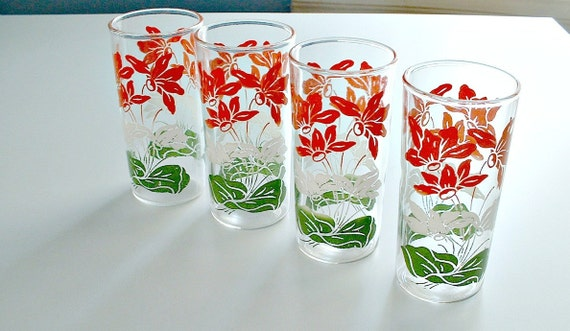 Vintage Juice Glasses Hocking Flower Mid Century Floral 1950s Red Green White Christmas