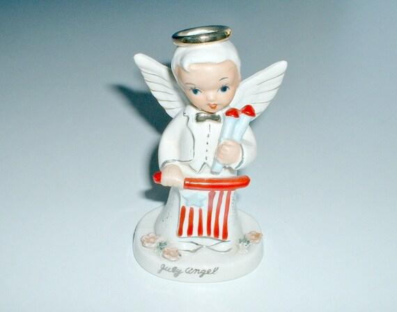 Vintage Napco Boy Angel Figurine 4th of July Flag Birthday