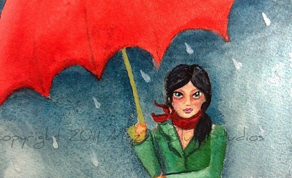 "Art Print Of Girl In Rain Wearing A Trench Coat Under A Red Umbrella Watercolor Giclee Reproduction Titled ""Girl With The Red Umbrella"""