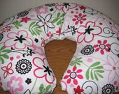 Baby/ Toddler Nursing Pillow Cover White with Pink and Black Flowers and Scrolls Floral Fits Boppy