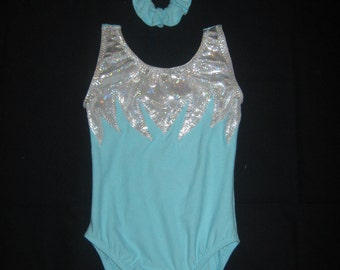 New FROZEN Blue Aqua White shiny hologram zigzag gymnastics dance leotard