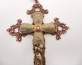 Verdigris Passion Crucifix Cross Necklace in Copper and Green Filigree Brass by Dr Brassy Steampunk