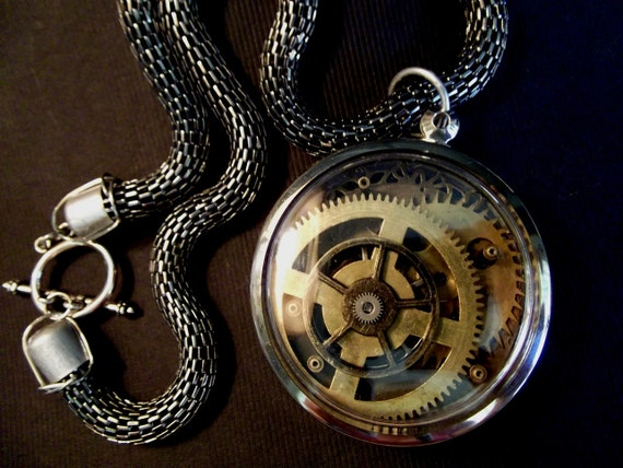Steampunk Necklace Portal Industrious Clockworks Locket by Dr Brassy Steampunk