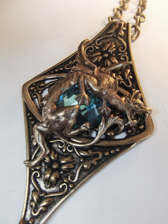 Winged Water Dragon Fantasy Necklace in Brass and Blue Sapphire by Dr Brassy Steamington