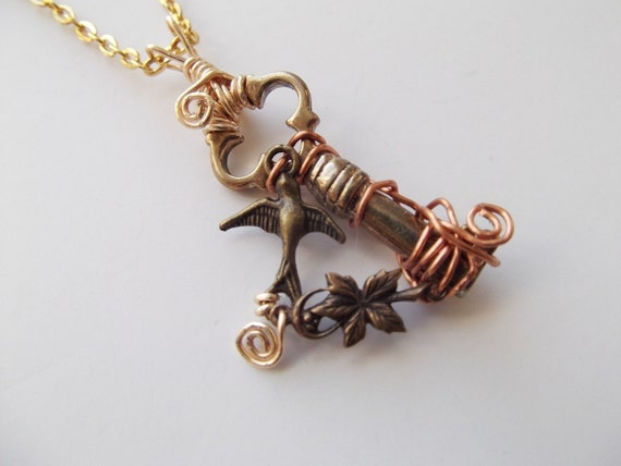 Steampunk Necklace Wanderlust Sparrow Key Pendant by Dr Brassy Steamington
