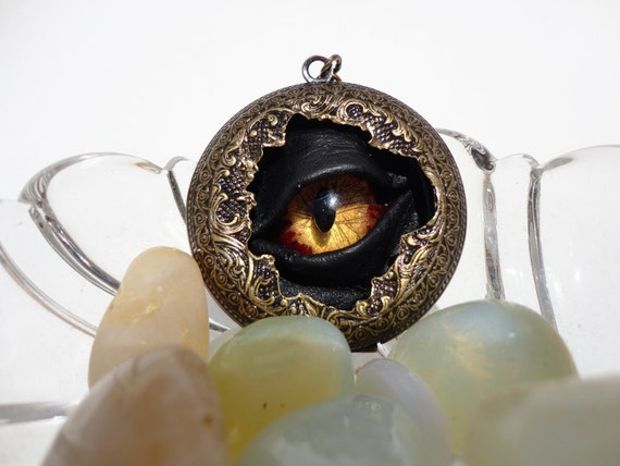 Steampunk Necklace Sightmares Eye Alchemy Madness in Red and Gold by Dr Brassy Steampunk