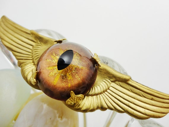 Steampunk Pin Medal -Sightmares Eye Flying Ace Steamwings Medal made from vintage military wings by Dr Brassy Steamington