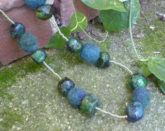 Ocean Pebbles Hand-Made Paper Mache and Felt Beaded Necklace