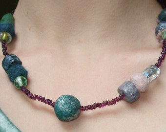 Jewel Tone Purple Hand-Painted Paper Mache and Felt Beaded Necklace