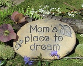 Personalized for Mom a place to dream in her garden outdoor ceramic garden marker/stone