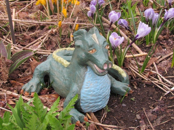 Green dragon sculpture garden art whimsical clay by poemstones for Whimsical garden statues