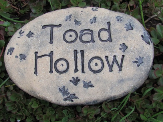 Toad Hollow Garden stone ~ Toad house sign ~ Toad home plaque ~ Poemstone with inscribed message and toad foot prints