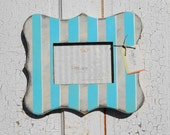 5x7 Baby Blue Photo Frame - Blue and White/Cream Stripes