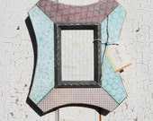 5x7 Photo Frame, Blue and Warm Gray Patterned Decoupage Frame