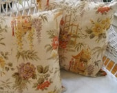 chinoiserie pillow covers beige vintage fabric tangerine tango back
