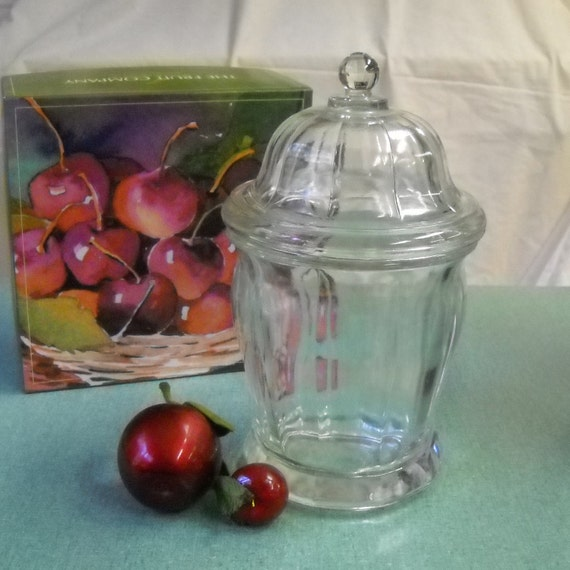 Vintage  Clear Glass  Fluted Apothecary Jar