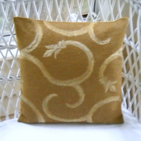 tapestry  arabesque swirl design  camel gold and tan pillow cover